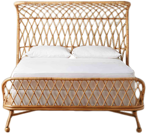 Curved Rattan Bed, King Ikea bed, Bed, Rattan