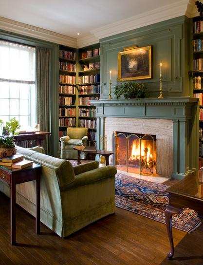 Living RoomCorner Bookshelf Simple Fireplace Design Green Sofa Wooden Laminate Flooring Wall Paint Curtain Creative Room Centerpiece