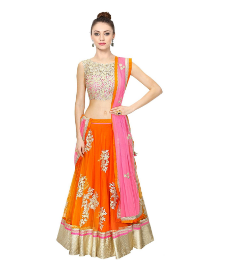 ebf685123a This is an eye catching orange and silver color combination of lehenga  choli and it is semi stitched and the lehenga has a high quality silk.