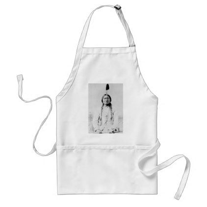 Sitting Bull Native American Adult Apron   Kitchen Gifts Diy Ideas Decor  Special Unique Individual Customized