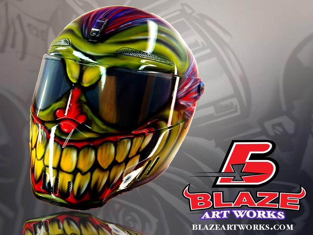 Bandit Alien Motorcycle Helmet Airbrushed In Evil Clown Design - Custom motorcycle helmet stickers and decalssimpson motorcycle helmets