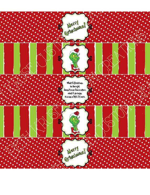 Grinch Water Bottle Labels Printable On Etsy 4 00 Christmas