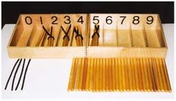 Montessori Preschool Math Materials: The Spindle Box and Numbers and Counters