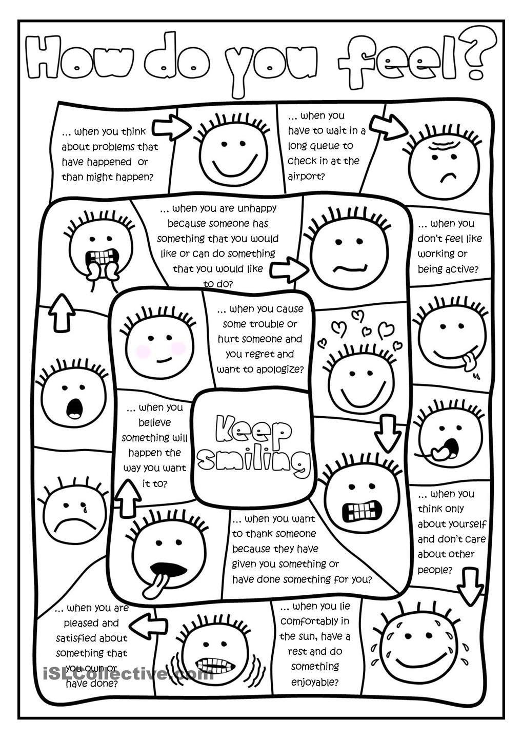 Workbooks wishes and feelings worksheets for children : How do you feel? - board game worksheet - Free ESL printable ...