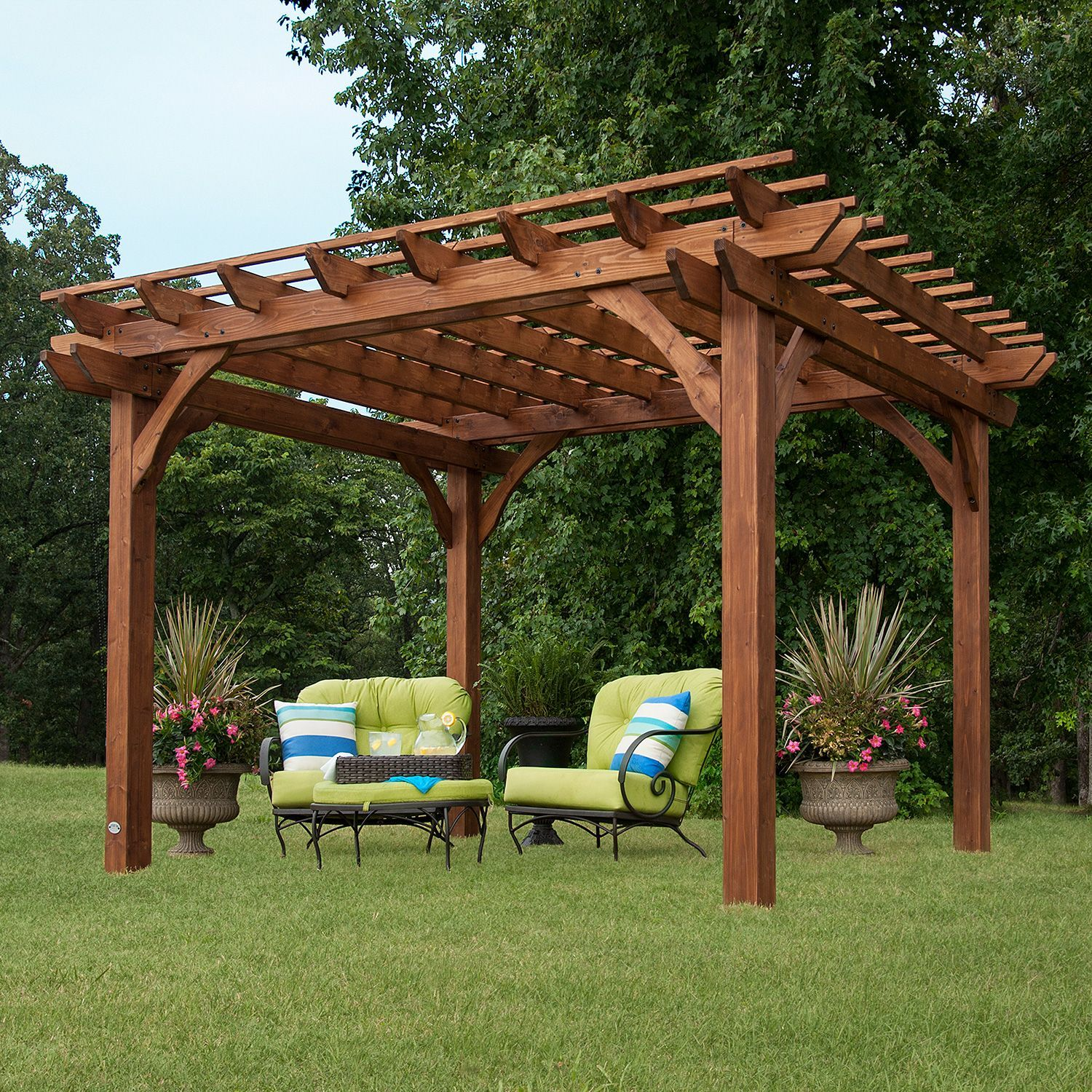 10 X 12 Cedar Pergola Sam S Club Outdoor Pergola Backyard Pergola Backyard