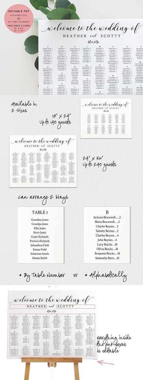 Wedding Seating Chart - Landscape. Wedding Card Templates   Wedding ...