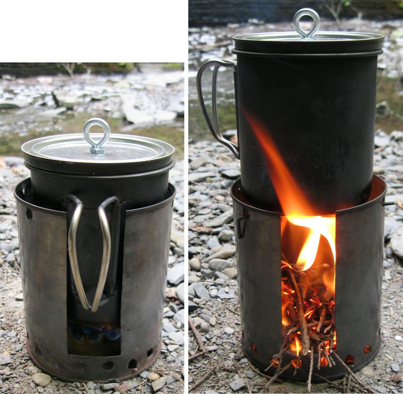 Make your own camp stove take an old cooking pot cut the for Diy camp stove