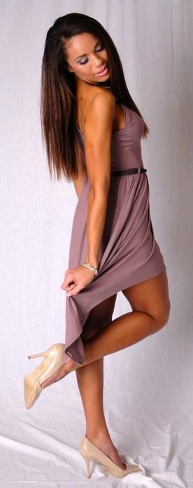 SO PRETTY! Image of Light Brown One Shoulder Dress