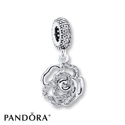 Jared PANDORA Dangle Charm Shimmering Rose Sterling Silver
