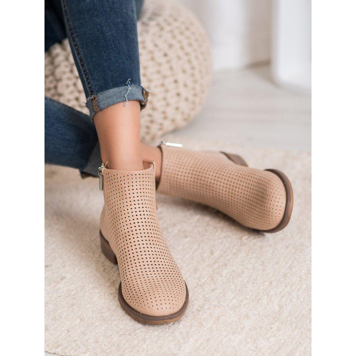 Lekkie Azurowe Botki Vinceza Brazowe Shoes Ankle Boot Boots