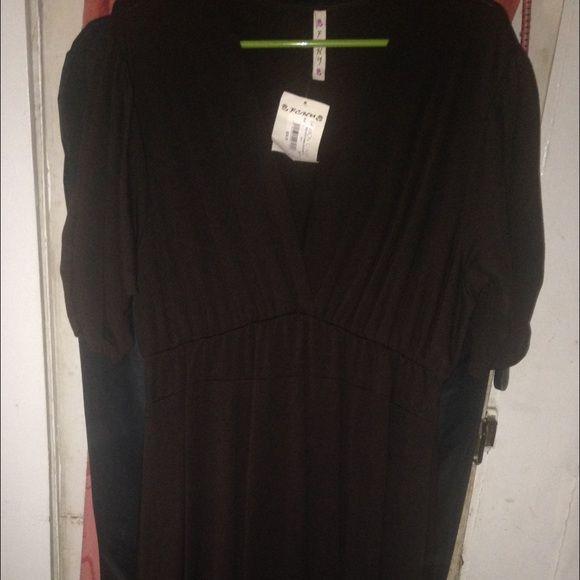Brown short sleeve dress runs small Jersey knit short sleeve Brown dress fits like 1X Dresses Midi