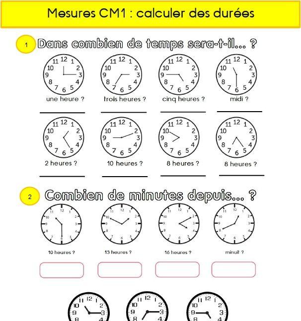 Calculs De Durees En Cm1 Cm1 Cm1 Cm2 Evaluation Cm1
