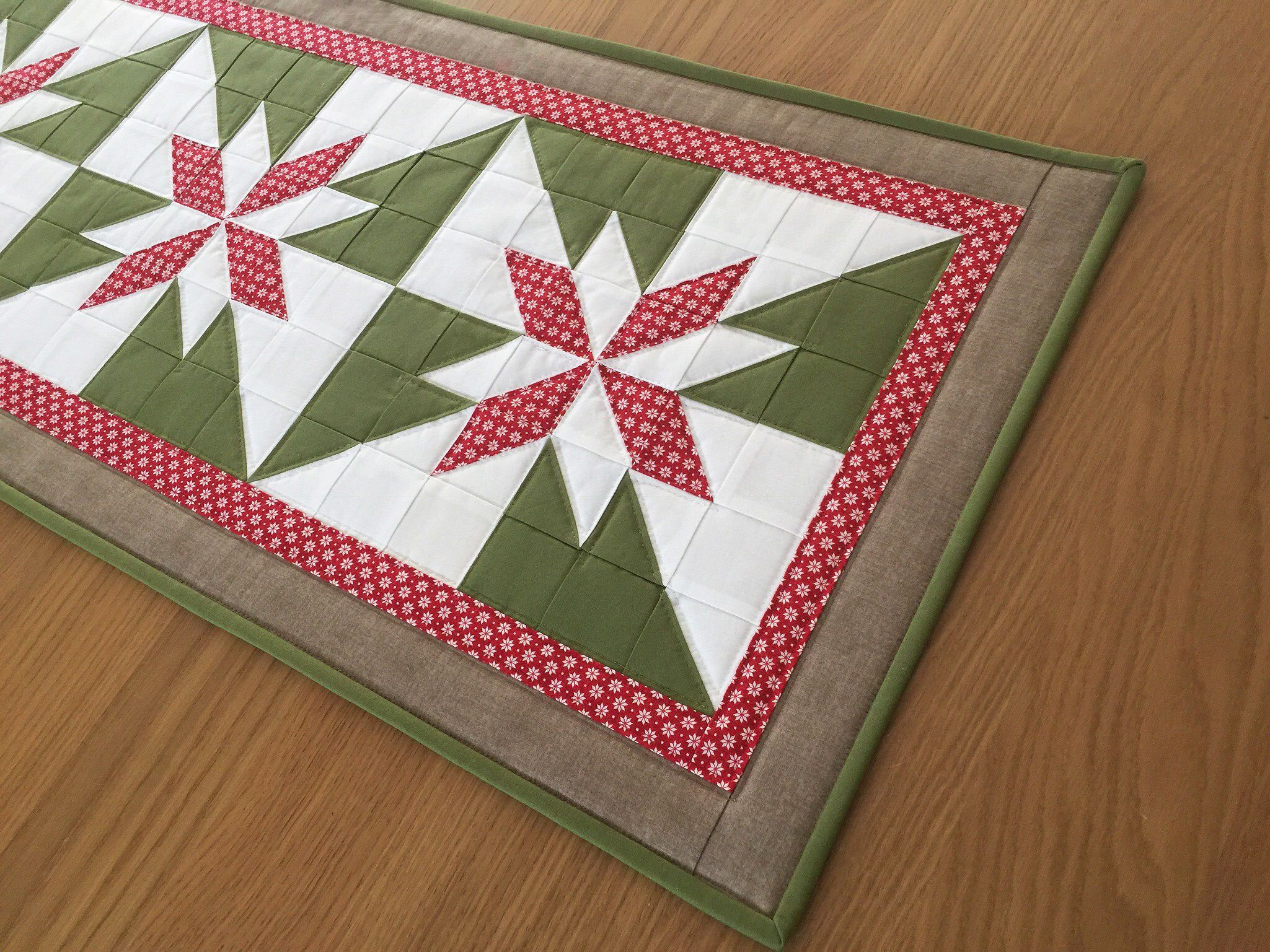 Star Table Runner, Christmas Table Runner, Quilted Fabric Table Topper,