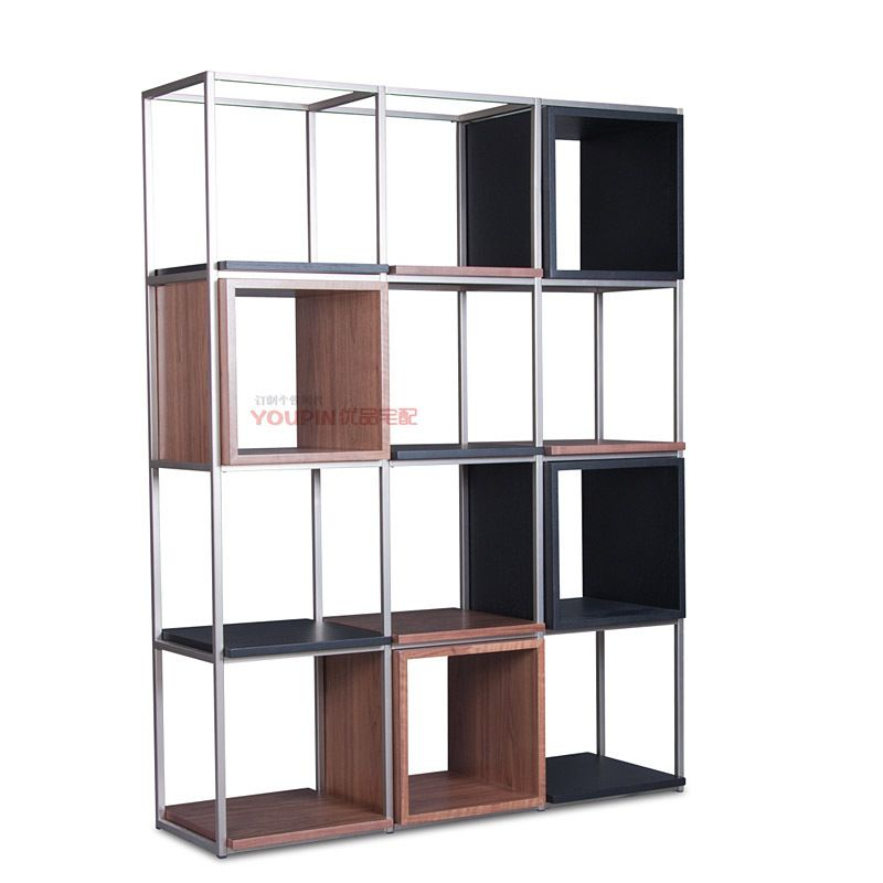 Simple stainless steel shelving shelf wood bookcase combination of modern  minimalist Scandinavian style furniture designer creat