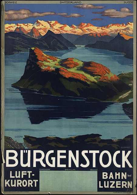 File name: 08_05_000248  Title: Bürgenstock  Created/Published: Luzern : Kunstverlag E. Goetz (Zürich : Graph. Werkstätten Gebr. Fretz)  Date issued: 1910-1959 (approximate)  Physical description: 1 print (poster) : color  Genre: Travel posters; Prints  Subjects: Mountains; Lakes & ponds   Notes: Title from item.; Printed in Switzerland; Caption below title: Funiculaire 870 M.ü.M. Railway  Location: Boston Public Library, Print Department  Rights: Rights status not evaluated