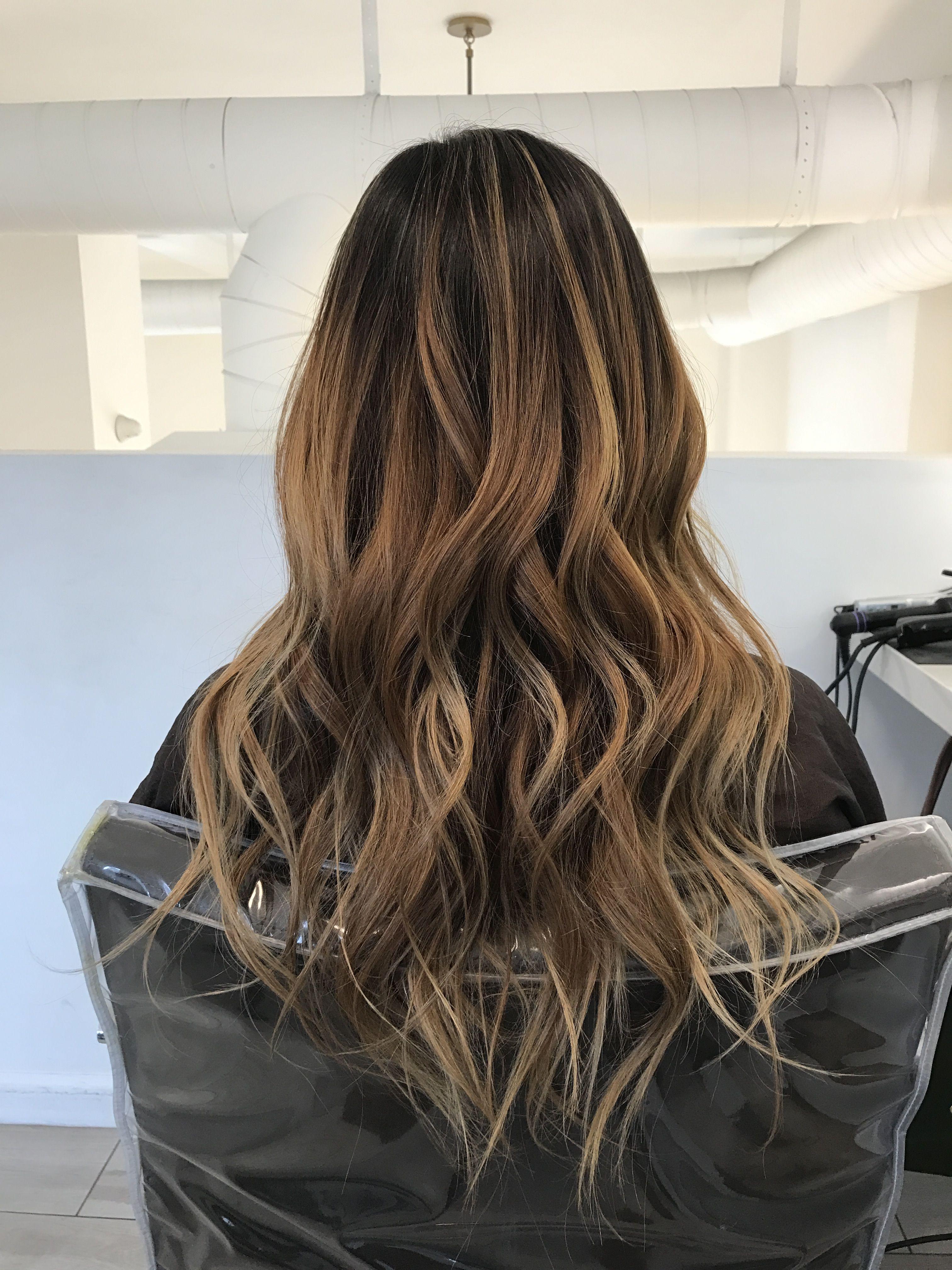 Perfectly Blended Dark Brown To Light Brown Blonde Bayalage Hair