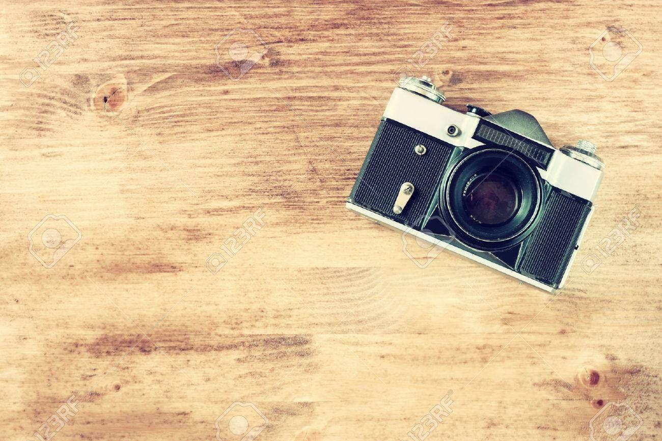 Vintage Old Camera On Brown Wooden Background Room For Text Vintage Effect Process Old Camera Digital Camera Photography Instagram Stock Images