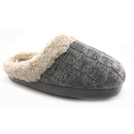 Womens Cable Knit Slipper Size 5 6 Gray Products