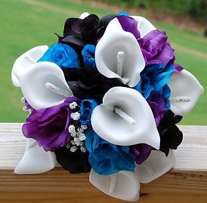 Reserved Listing Wedding Bridesmaid Bouquet White Blue Regency Purple Black I Would Change The And To Red Flowers