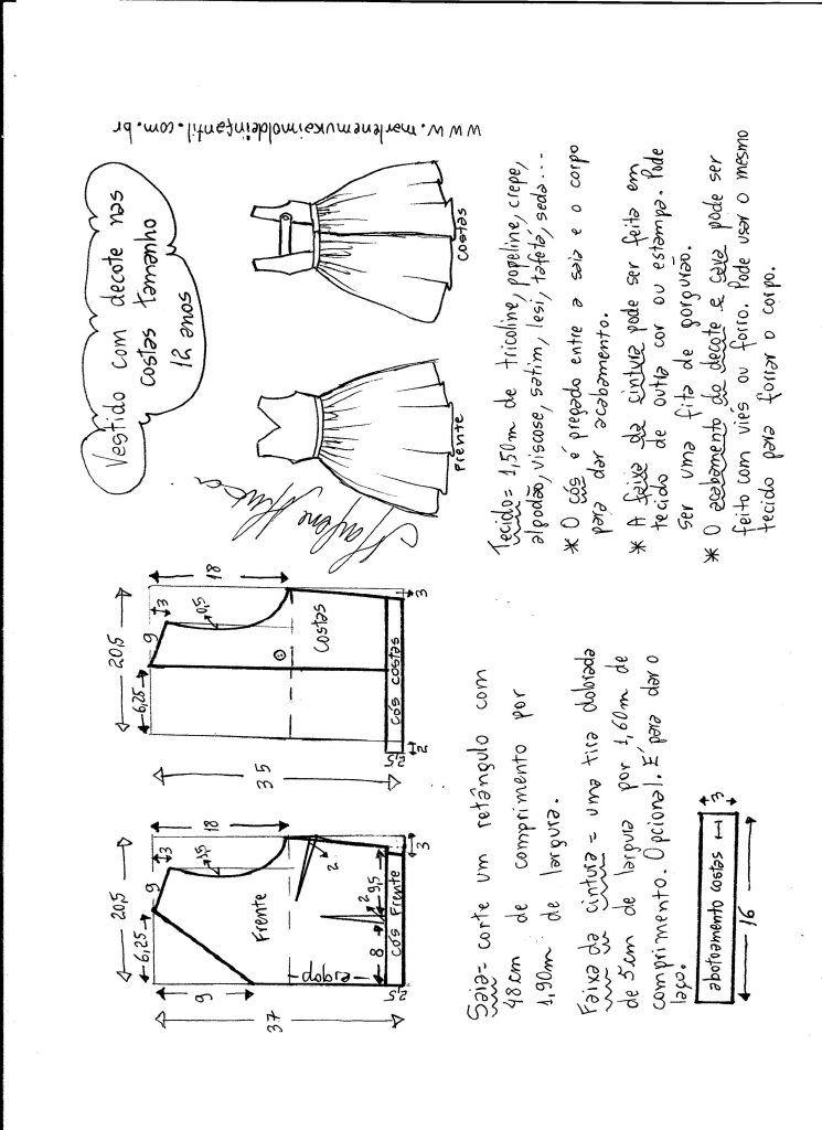 Modelagem De Vestido Com Decote Nas Costas Tamanho 12 Anos