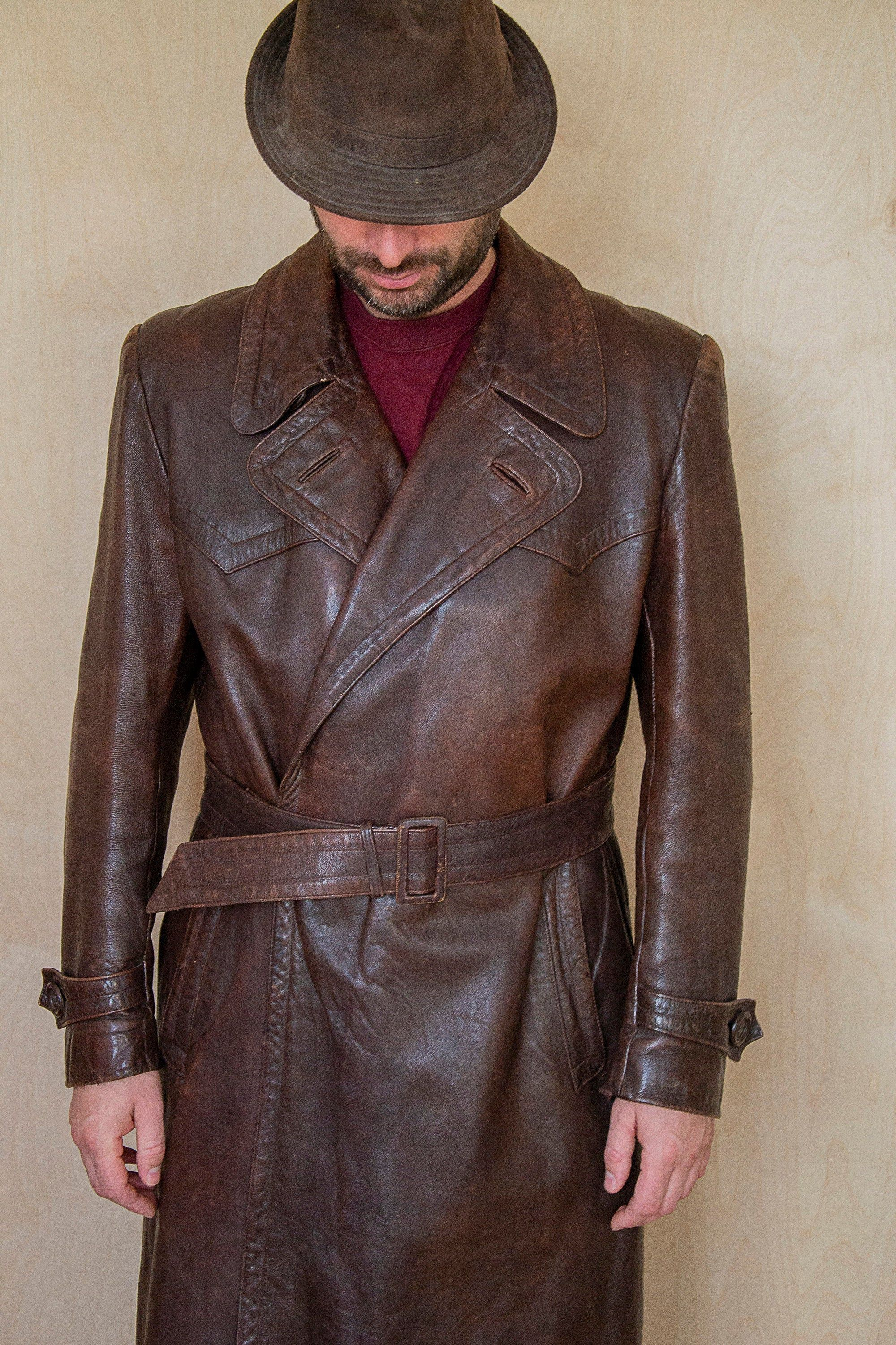 Men's brown leather long belted trench coat vintage