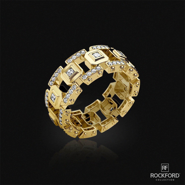 LA PAZ Mens Gold Wedding Band with Diamonds Mens gold