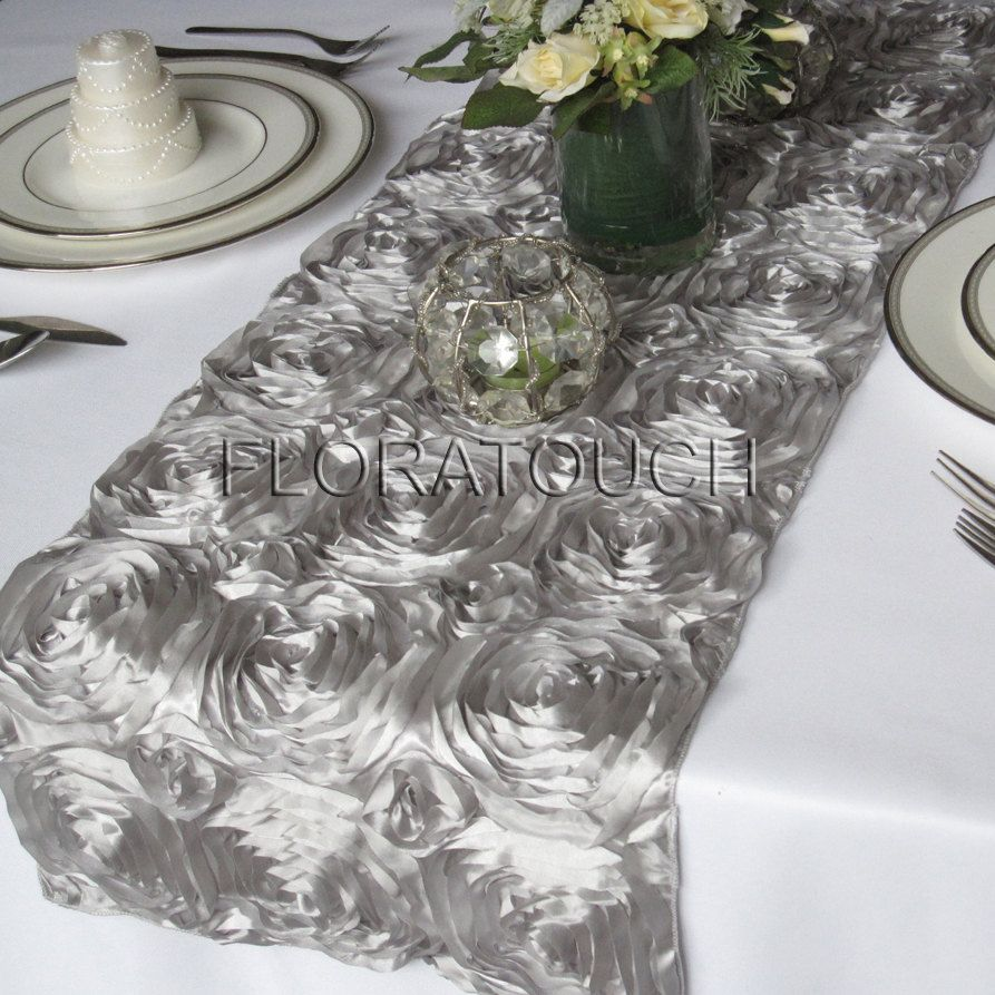 Lovely Tablescape   Rosette Table Runners In Silver, Yellow Napkins, White  Tablecloths And Chair Covers
