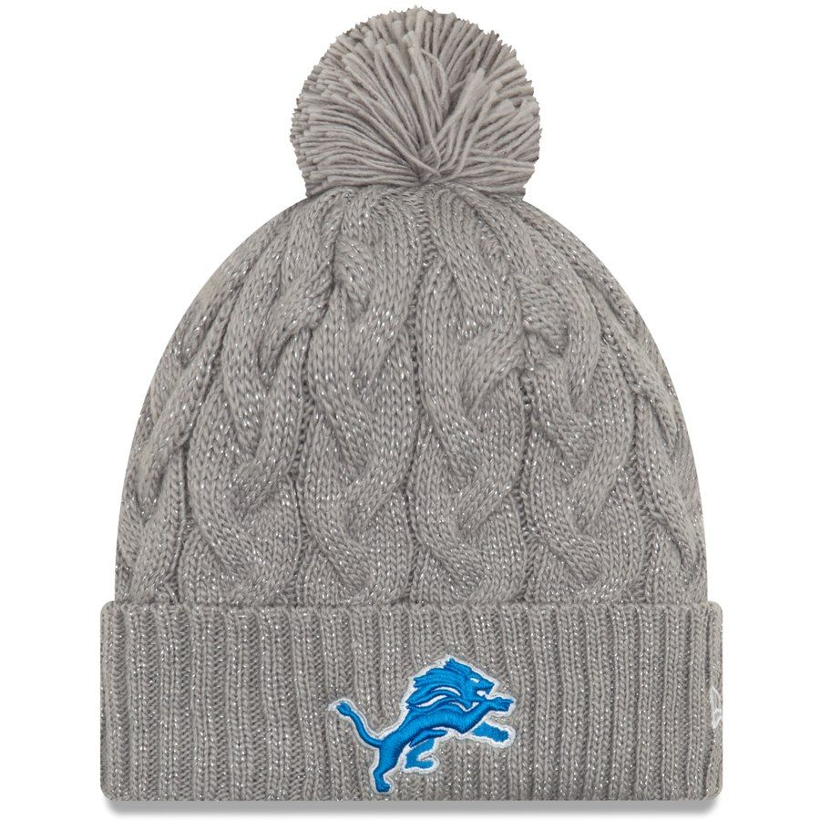 Women s Detroit Lions New Era Gray Swift Cable Cuffed Knit Hat with ... 3830ae552bb4