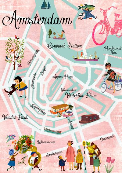 Amsterdam Map Art Print Amsterdam Map Art Amsterdam Map Map