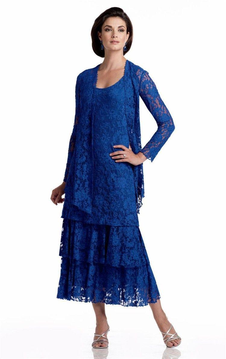 Lace dress royal blue   Long Sleeve Mother Of The Bride Tea Length Dresses Royal Blue