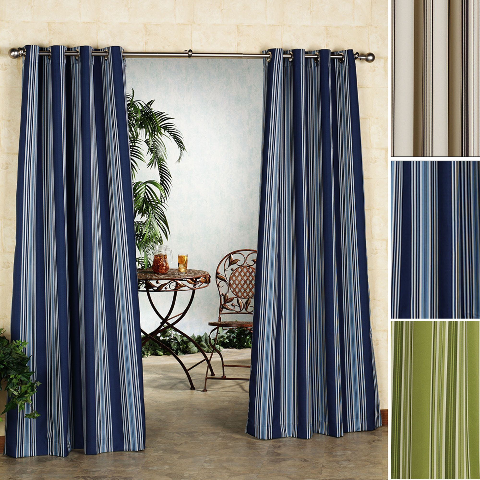 Illustration of Indoor Outdoor Curtains Displaying Beautiful