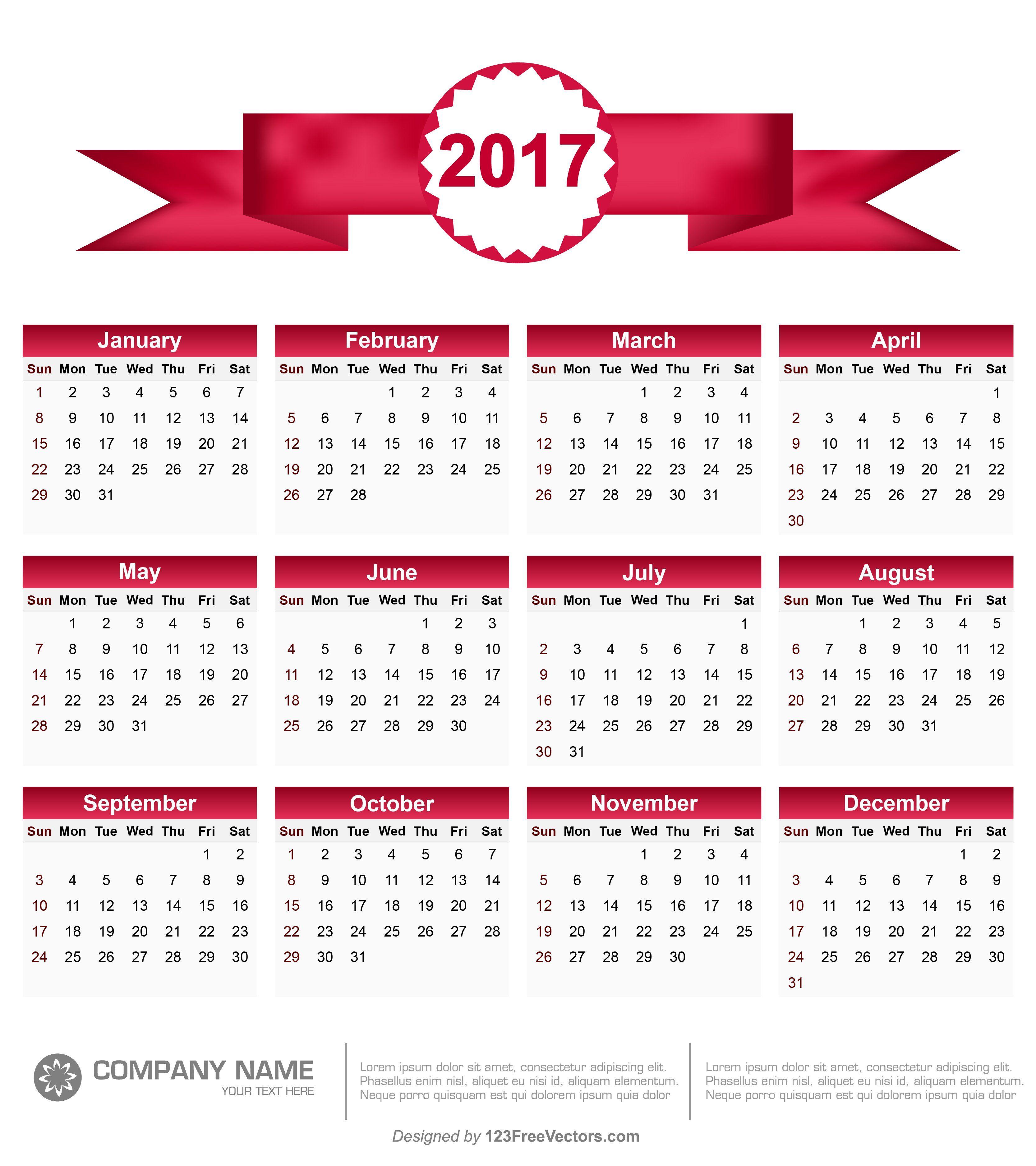 Printable 2017 Calendar Vector | 2017 Calendar | Pinterest