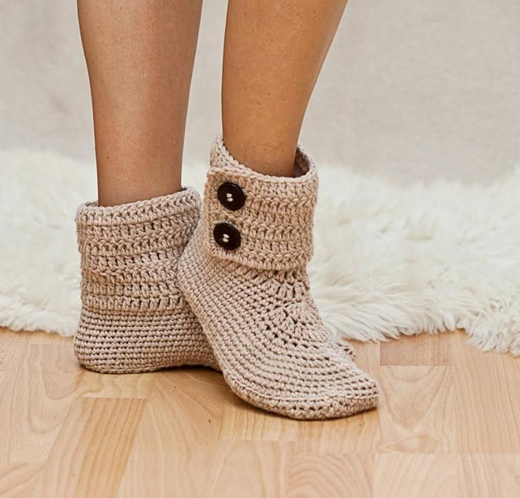 Ladies Button Ankle Boot Slippers Crochet Kit by Mon Petit Violon featuring Sprightly Acrylic Worsted Yarn | Craftsy | Craftsy