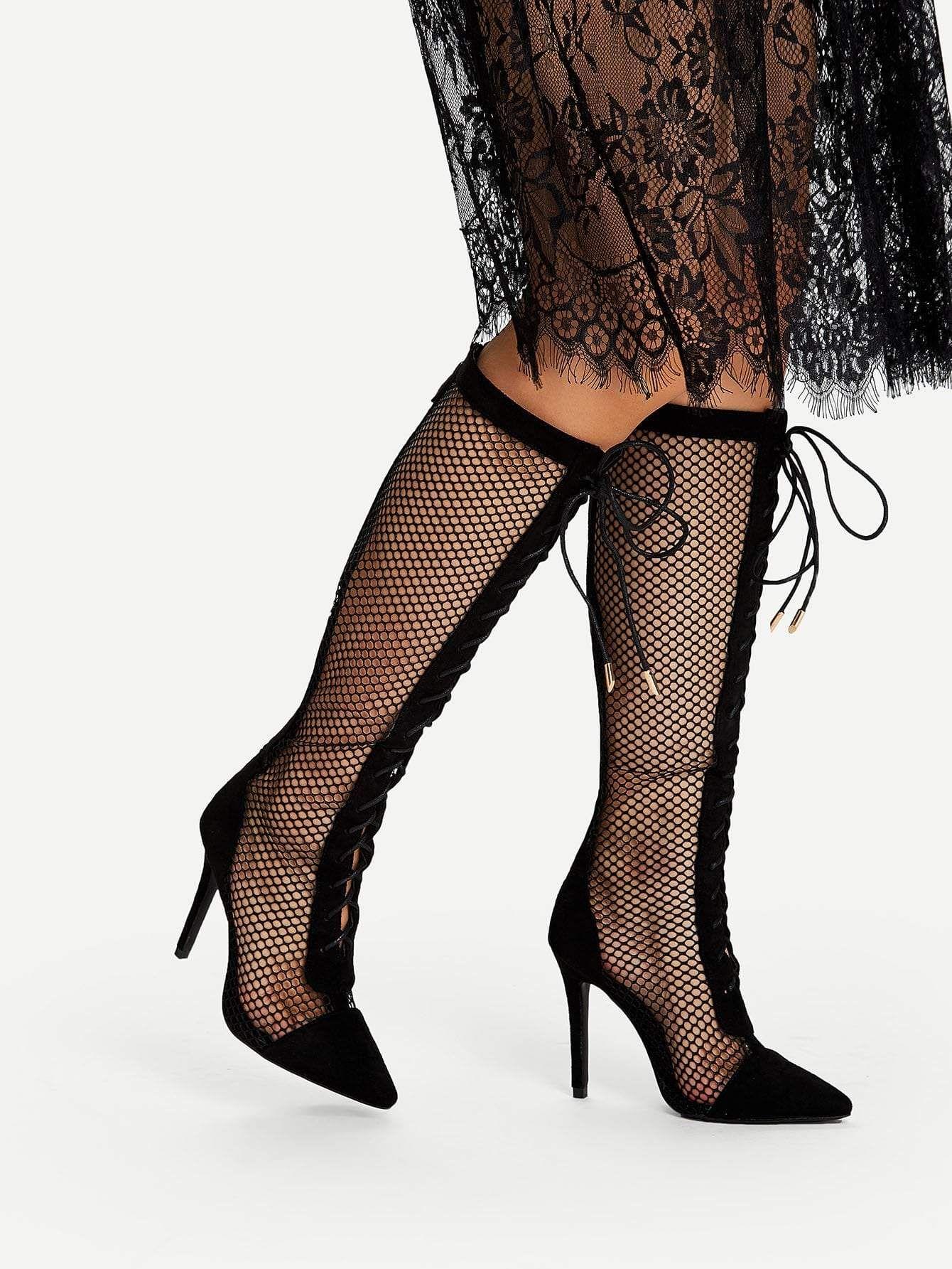 e9f2a47a5d0 lace up fishnet knee high boots. #boots #shoes #women #fashion ...