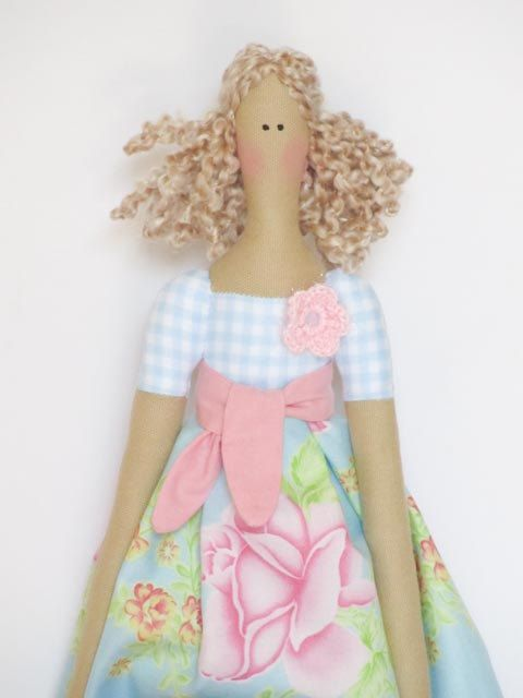 Fabric doll cute stuffed doll in pale blue pink rose blonde,cloth ...