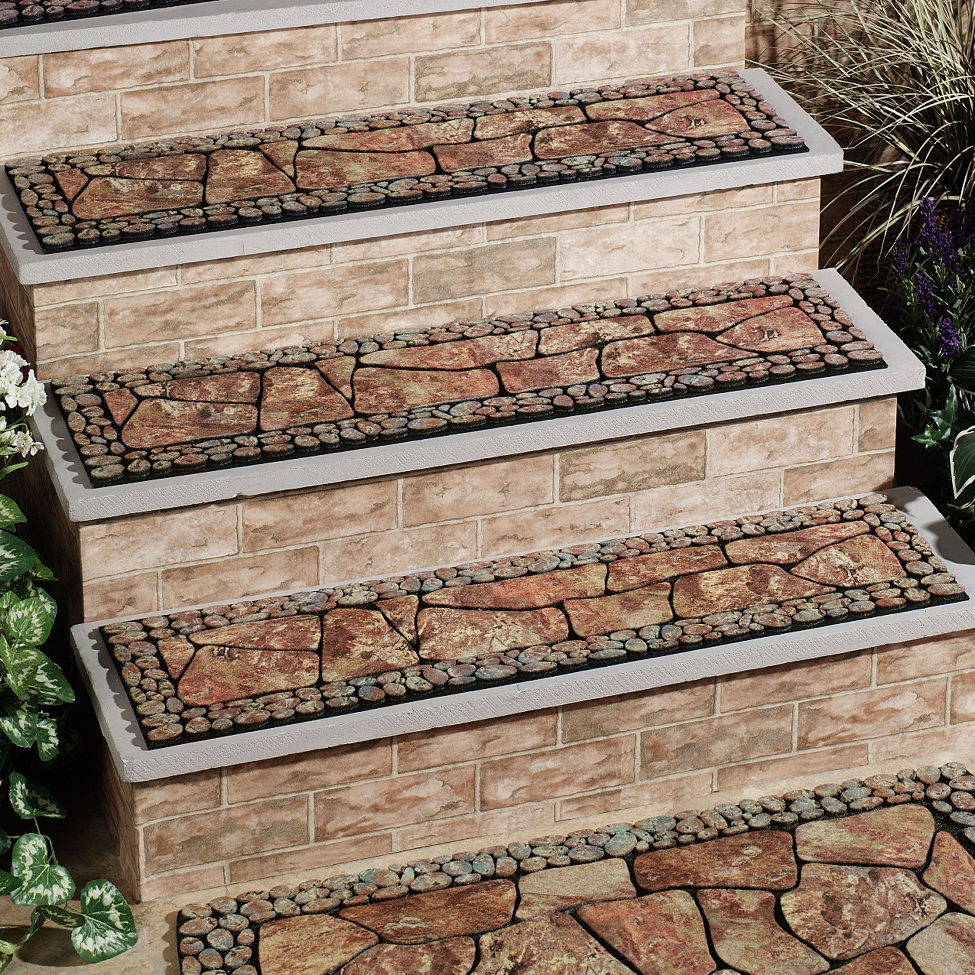 Decorative outdoor stair treads home tuscany stair tread for Exterior stone stairs design