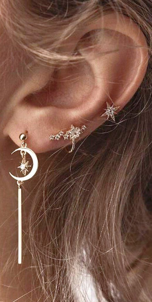 Boho Cute Multiple Ear Piercing Ideas - Dangle Moon Star Cartilage Tragus Triple Forward Helix Jewelry Ear Cuff in Gold  - lindas orejas piercing ideas para las mujeres - www.MyBodiArt.com #earpiercingideas