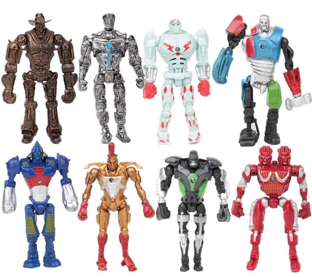 8pcs//Set Movie Real Steel Zeus Atom Midas Noisey Boys Action Figures Robot Toys