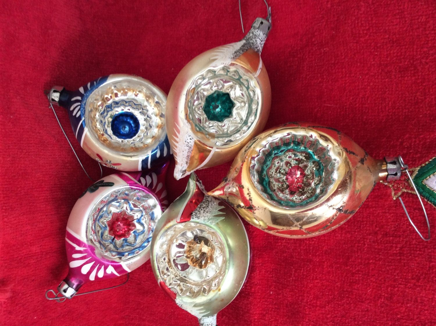 5 OLD Mercury Glass Christmas Ornaments Lot-INDENT Ornament-Red-Green-blue Flower-1950s-1960s-Christmas tree decoration-Glitter-Poland glass by VintageTreasuresRus on Etsy
