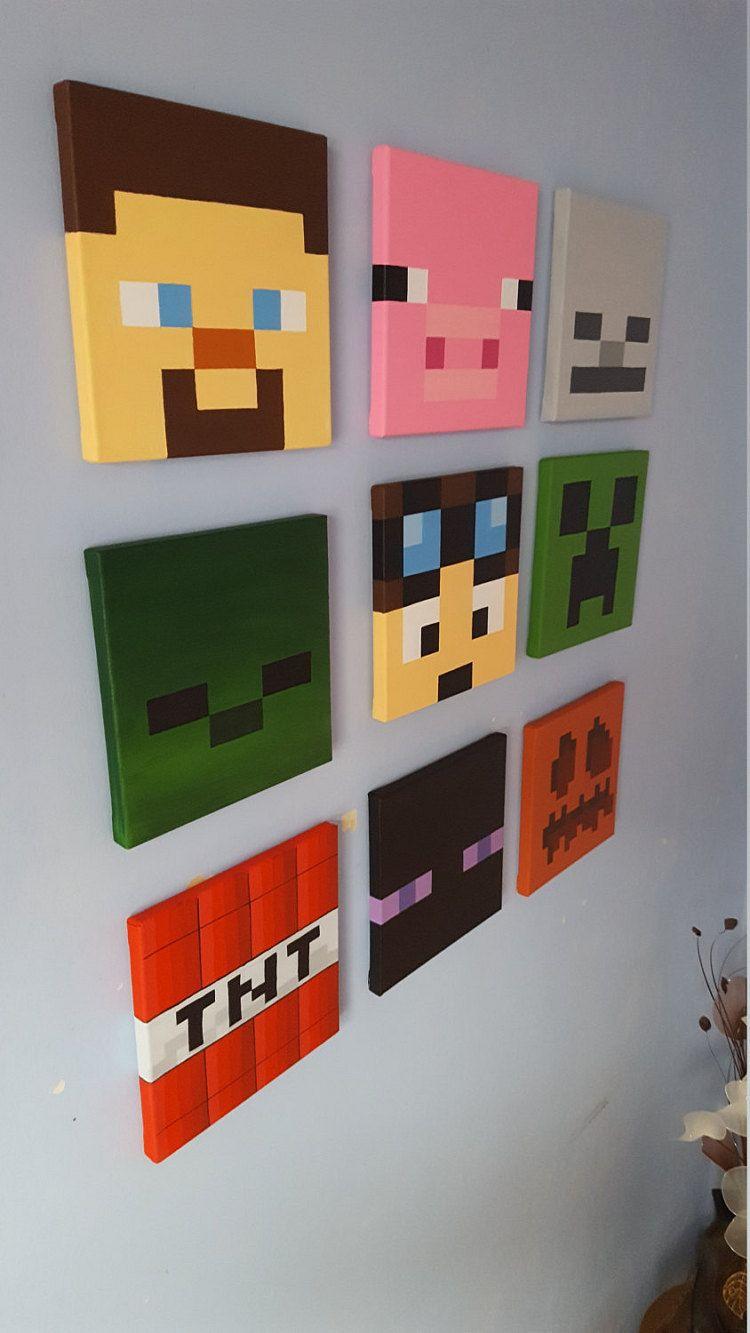 Minecraft Wall Art Set Of 9 Canvases Small 8 X 8 Lego Proekty Dekor Spalnik Malchika Iskusstvo Origami