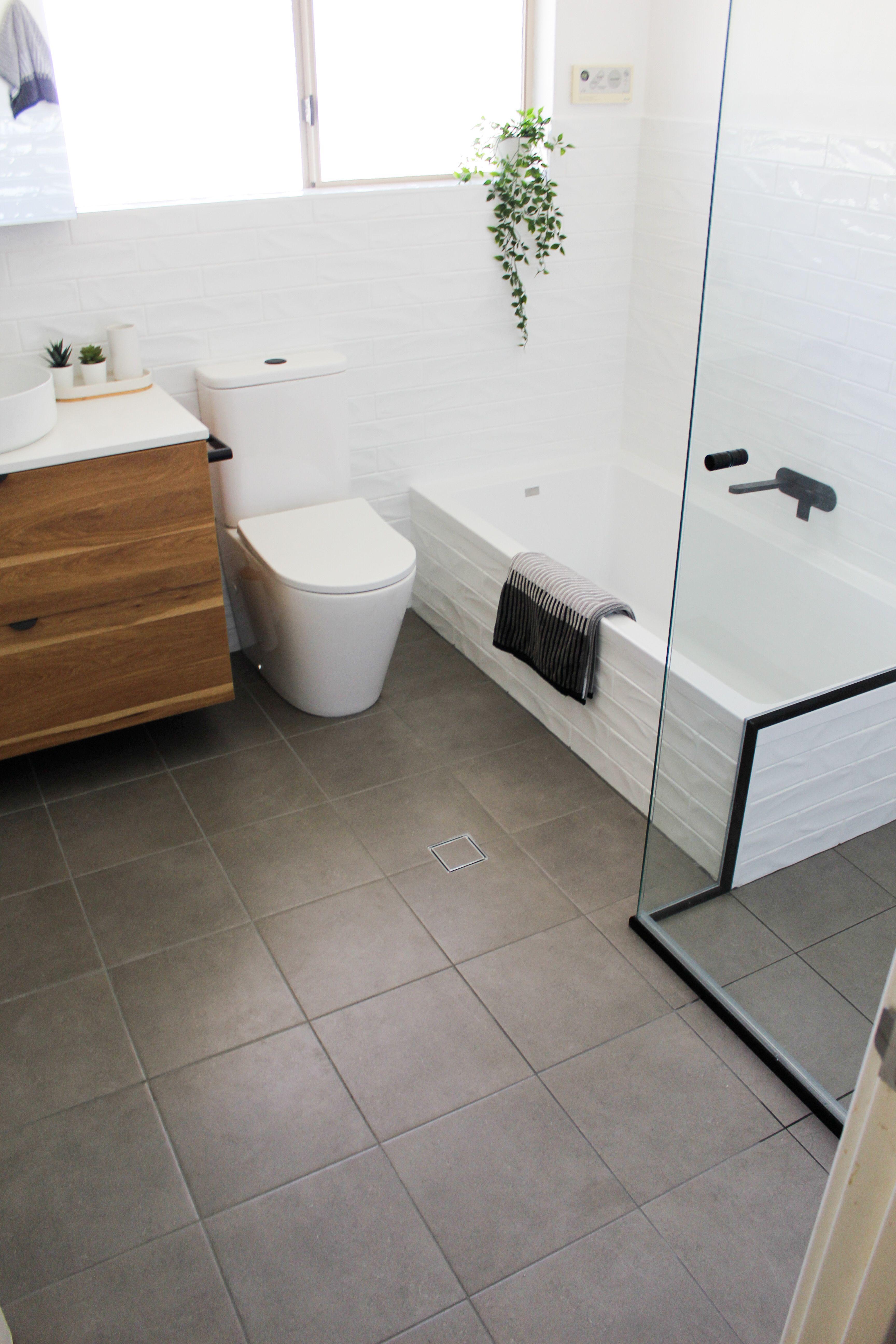 White Walls Grey Floor Green Bathroom Grey Flooring Blue Shower Tile