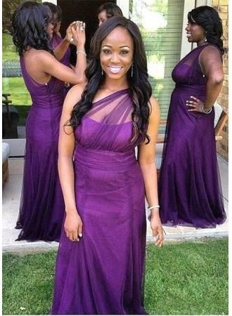 d2bccc5a23d USD 99.00 - Elegant One Shoulder Purple Bridesmaid Dress 2017 Long Tulle  Plus Size - www.27dress.com