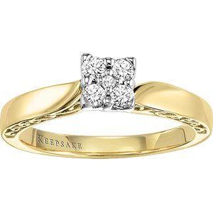 Keepsake Enchanted 1/5 Carat T.W. Diamond Princess Ring in 10kt Yellow Gold