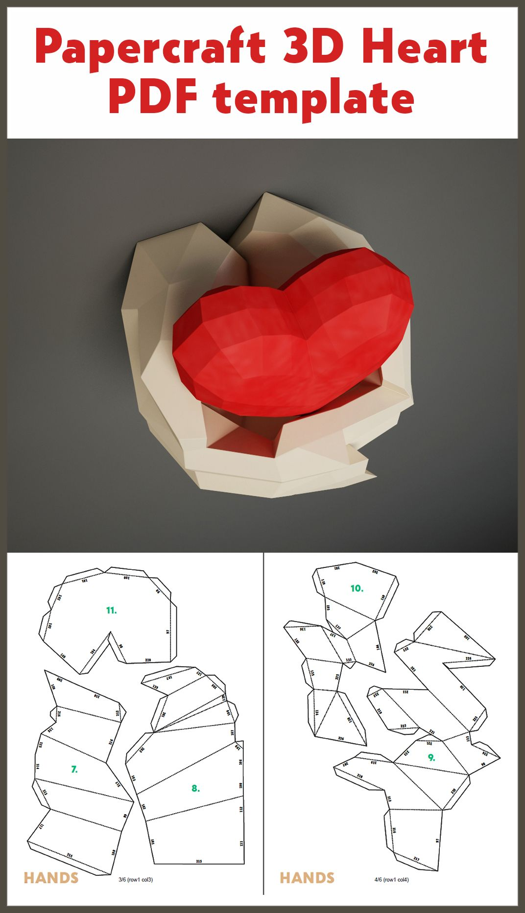 Paper Craft Hands With Heart Papercraft 3d Wall Decor Diy Gift Love Valentines Day Paper Model Sculpture Pdf Template Kit Pepakura Paper Crafts Pop Up Card Templates Paper Crafts Diy