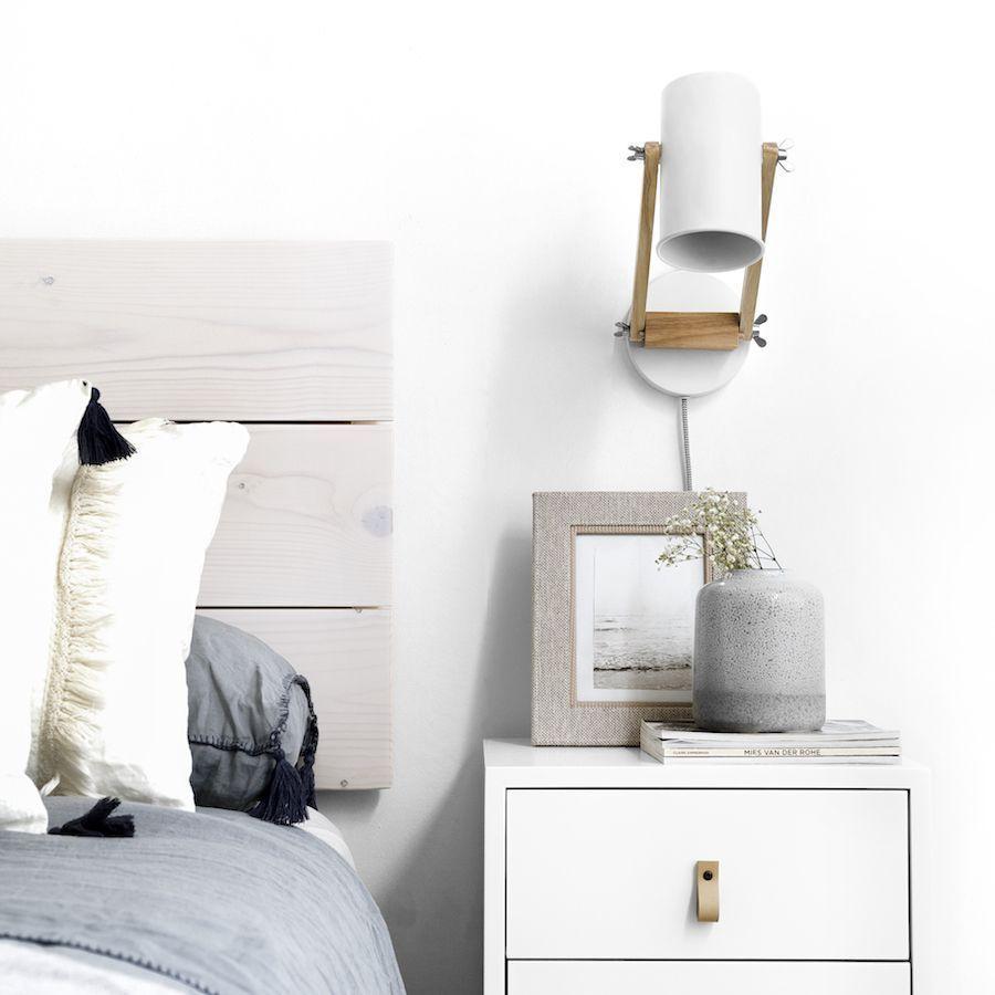 Eco Aplique De Pared Nordico Blanco Y Madera Kenay Home Apliques De Pared Decorar Dormitorios Apliques Pared Dormitorio