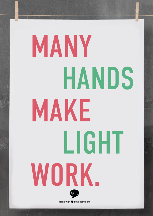 Many Hands Make Light Work Quote Bible: Weekly Inspiration Many Hands Make Light Work