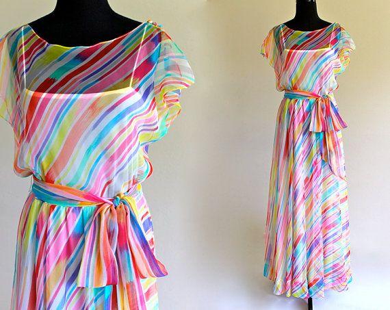 70s Rainbow Stripe Chiffon Boho Luxe Glam by LuvStonedVintage ...