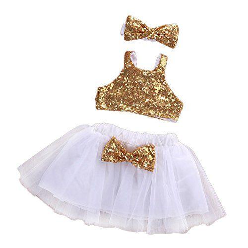 Cutelove Baby Girls 3 Pcs Outfit Set Gold Sparkle Sequins