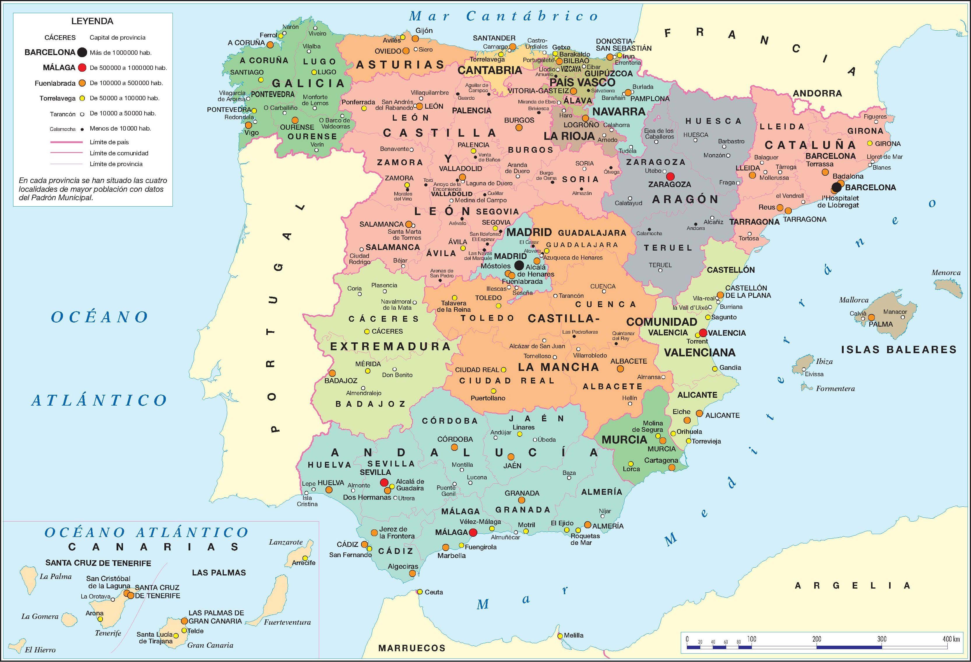 Carte De L Espagne Avec Les Regions Les Villes Les Provinces En