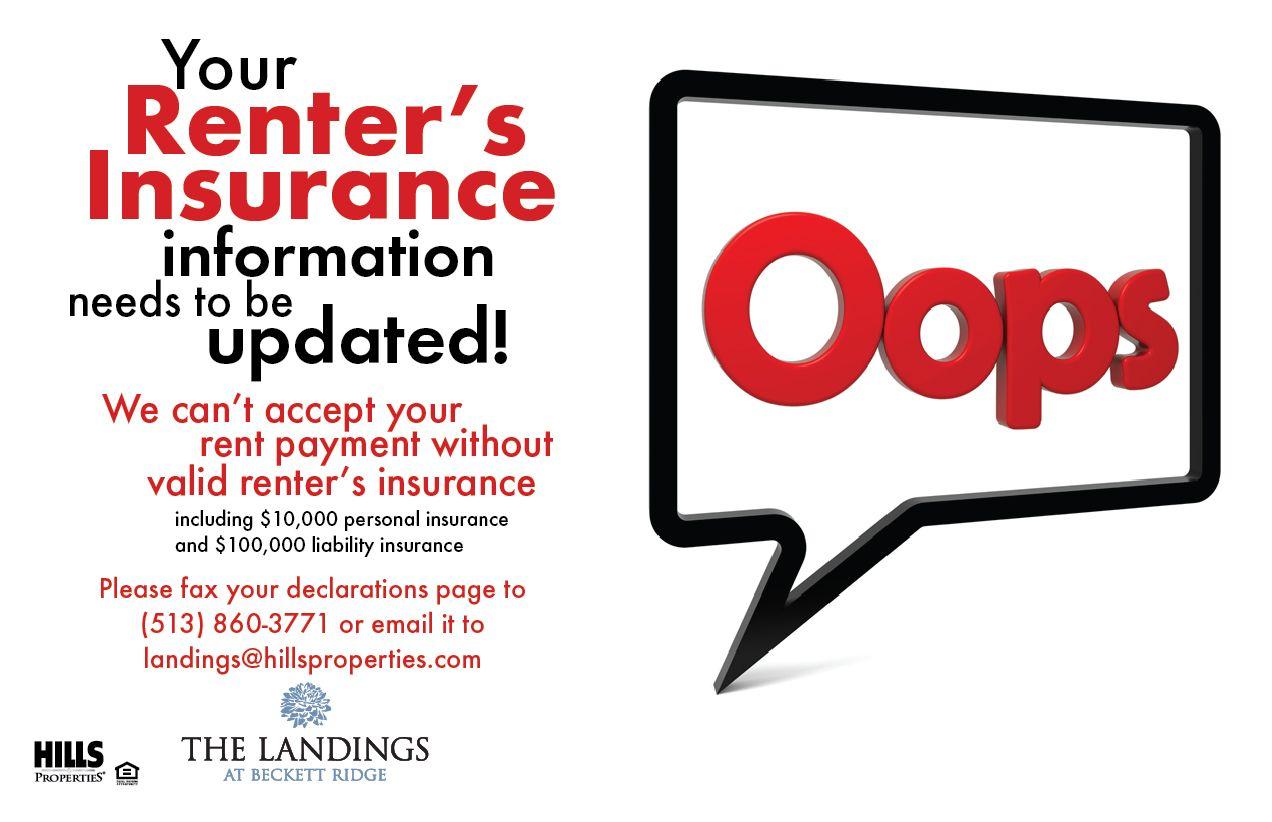 Renter S Insurance Update Needed Flyer Renters Insurance